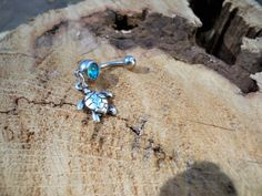 belly button jewelry sea turtle with a light aqua stone by sindys, $10.00