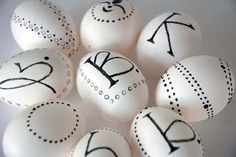 Monogrammed Easter eggs. No better way to make your guests feel welcome and special.