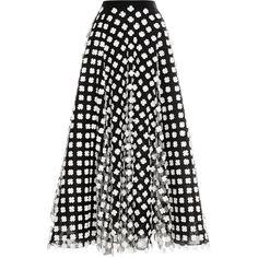 Oscar de la Renta Floral-Appliquéd Midi Tulle Skirt (29 435 UAH) ❤ liked on Polyvore featuring skirts, bottoms, faldas, midi skirt, saias, tulle skirt, floral knee length skirt, white knee length skirt, tulle midi skirt and white skirt