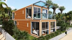3 Prefabricated/Prefab Modular Movable Container House on The Beach., Find Details about Container House, Prefab House from 3 Prefabricated/Prefab Modular Movable Container House on The Beach. - Jiangxi HK Prefab Building Co. Container Homes For Sale, Shipping Container House Plans, Building A Container Home, Container Buildings, Container Architecture, Container House Design, Tiny House Design, Architecture Design, Shipping Containers