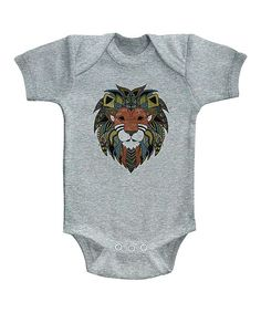 Gray Heather Tribal Lion Bodysuit - Infant