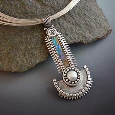 Sterling silver pendant necklace statement piece by LizardsJewelry