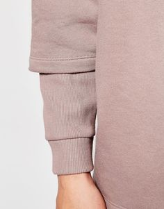 Image 3 of ASOS Longline Oversized Sweatshirt With Double Layer Rib Sleeve