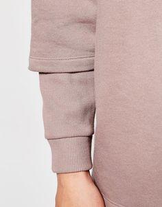 Image 3 of ASOS Longline Oversized Sweatshirt With Double Layer Rib Sleeve