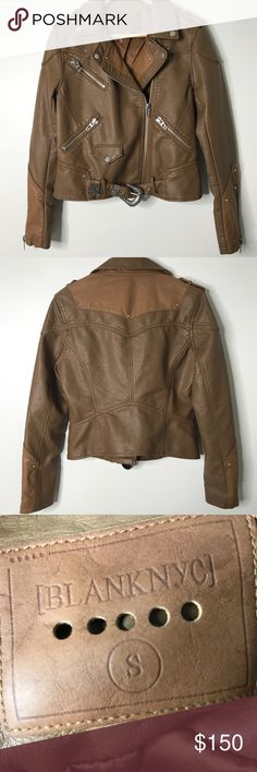 Blank NYC Moto Jacket Blank NYC western style brown Moto jacket with silver hardware. This baby is rare and I would keep in a heartbeat if it were in my size 😩 Blank NYC Jackets & Coats Utility Jackets