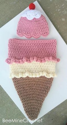 (4) Name: 'Crocheting : Newborn Crochet Ice Cream Cone Cocoon