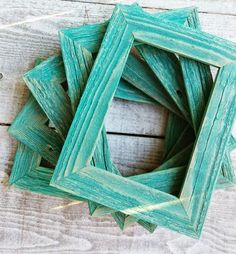 Rustic Teal Barn wood 5 x 7 Picture Frames - Set of 5 Painted Shabby Chic Picture Frames in Teal Green