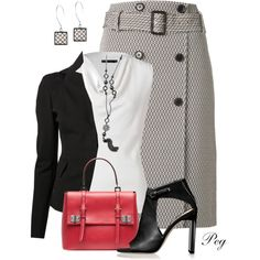 A fashion look from September 2014 featuring Donna Karan tops, Donna Karan jackets and Jason Wu skirts. Browse and shop related looks.