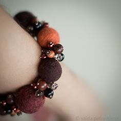 Bracelet with Hand Felted Beads in Orange and Brown