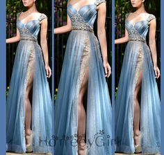 MODEST Light blue long chiffon prom dress, beading and sequin party dress: lace inside ,so charming a dress