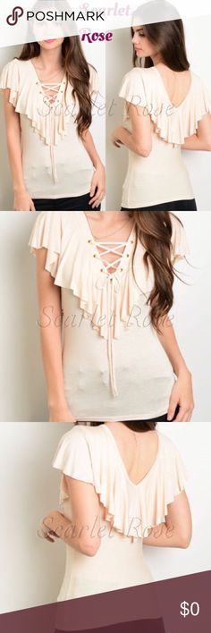 ❤️DEAL OF THE DAY❤️ Cream Ruffled Tops wTie Front This light cream colored top has a ruffled front & back with a lace tie detail on the front so you can show as much or as little cleavage as you want.  This is such a versatile top and so classy! Dress it up and wear to work or out with friends, or dress it down and wear with jeans and some cute heels or sandals. Prices are firm on all retail items unless bundled. Thank you, Poshers, for looking and sharing! ❤️❤️ Scarlet Rose Boutique Tops…