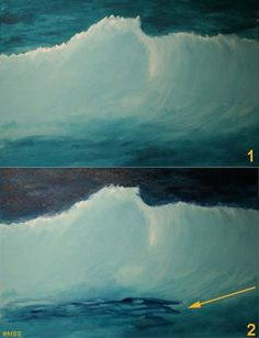 Sea Painting Demonstration: Breaking Wave: Establishing the Painting& Composition Acrylic Painting Lessons, Acrylic Painting Tutorials, Painting Videos, Painting Techniques, Watercolor Wave, Watercolor Landscape, Abstract Landscape, No Wave, Seascape Paintings
