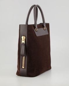 Tom Ford Suede Sidezip Tote Bag in Brown (dark brown) - Lyst