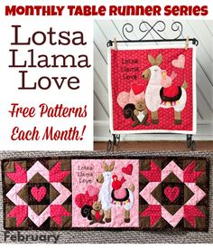Monthly Table Runner Series- Lotsa Llama Love! Craft Projects For Adults, Diy Craft Projects, Fun Crafts, Amazing Crafts, Mini Quilt Patterns, Table Runner Pattern, Simple Embroidery, Quilting Projects, Handmade Crafts
