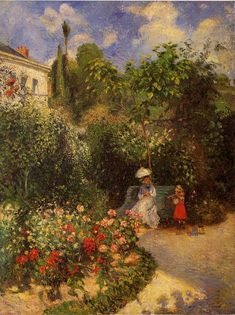 The Garden at Pontoise.1877 by Camille Pissarro