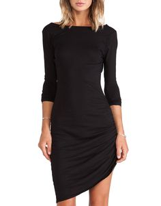 Black Long Sleeve Ruched Wrap Side Backless Dress 14.00