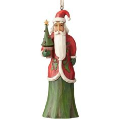 Jim Shore Folklore Santa With Tree Hanging Ornament ($17) ❤ liked on Polyvore featuring home, home decor, holiday decorations, multi, star home decor, santa ornaments, father christmas ornaments, jim shore and jim shore ornaments