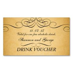 Drink tickets wedding birthday company party bar for Drink token template