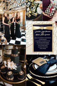 Inspírate en las bodas en negro y dorado estilo Gatsby e incorpora su lujo a tu celebración.