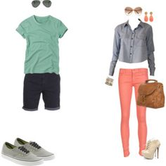 Summer casual- love the pops of color! Cute Couple Outfits, Valentines Outfits, Fashion Couple, Husband Wife, Cute Couples, What To Wear, Fashion Outfits, Engagements, Casual