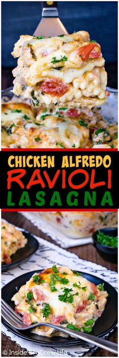 Chicken Alfredo Ravioli Lasagna - layers of cheesy pasta and loaded chicken Alfredo in one pan makes an incredible comfort food meal that the whole family will enjoy. Great recipe to make for busy nights. ~ Inside BruCrew Life