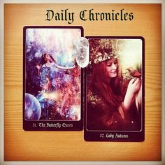 #dailychronicles for May 1st.  The Butterfly Queen appears again! Can you feel the winds of change? This card brings a major transition into your world today; change is something that many of us resist but you won't want to miss this one because she ushers in Lady Autumn's influence.  This transformation will deliver abundance rewards and a time of fruitful endeavours - wonderful!   #chroniclesofdestiny #fortunecards #cartomancy #divination #tarot #tarotcards #oraclecards #guidance…