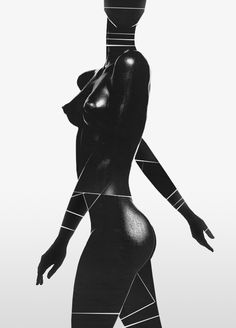 original photos by Nick Knight use of line to break up form, guide eye and create graphic quality - monochrome colour palettes - distortion of the female form Black Women Art, Black Art, Black Girls, Art Photography, Fashion Photography, Afro Art, White Image, Black Models, Black Is Beautiful