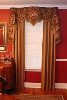 Louis XV Valance traditional window treatments Center section could be cut to narrower width to use in multiple windows Curtains With Blinds, Drapery Designs, Custom Window Treatments, Window Styles, Curtains Window Treatments, Elegant Draperies, Curtain Decor, Curtain Designs, Traditional Windows