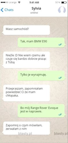 Masz+samochód+? Funny Sms, Funny Text Messages, Funny Texts, E90 Bmw, Polish Memes, Funny Conversations, Im Depressed, Best Memes, Really Funny