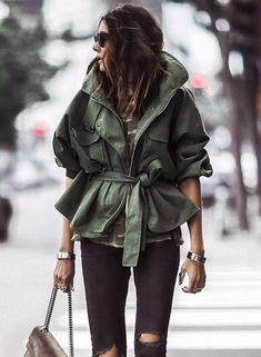 Solid Color Turn-down Collar Loose Fit Coat with Belt | victoriaswing