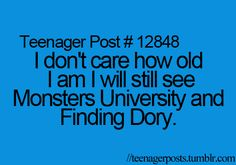 Saw Monsters University last week. And I wasn't to surprised to see the theater filled with kids in their 20's (: