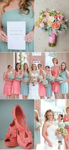 love the blue and coral bridesmaids dresses and that each dress flatters every bridesmaid