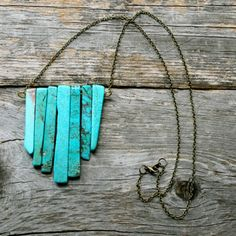 Turquoise Chunk Long Brass Chain Necklace #9thandElm
