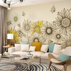 Hand Painted Oil Painting Sunflower Wallpaper Wall Mural, Tellow Sunflowers with Butterfly Wallpaper