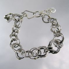 Vertebrae, Fine Silver Chain Link Bracelet; kathy van kleeck