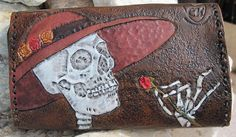 hand tooled la catrina clutch/wallet by craft kitten #tooled #wallet #skeleton #rose