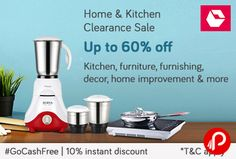 Snapdeal Home & Kitchen Clearance Sale is offering Upto 60% off on Kitchen, Furniture, Furnishing, Decor, Home Improvement & Many more items and 10% Instant Discount on #GoCashFree.  http://www.paisebachaoindia.com/home-kitchen-clearance-sale-upto-60-off-10-instant-discount-snapdeal/