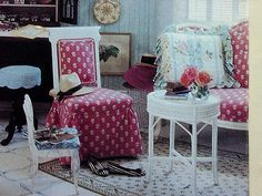 Red Patterned side Chair -Sofa-8x6