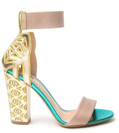 Wedding Shoes: Vintage Inspired Funky Nicholas Kirkwood - Peter Pilotto Gold and Blue Ankle Strap Chunky Heel Sandal