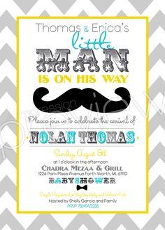 Little man mustache + chevron baby shower invitation