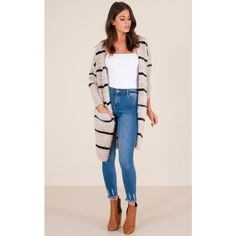 Straight Up cardigan in beige stripe (75 CAD) ❤ liked on Polyvore featuring tops, cardigans, pink top, striped cardigan, striped top, stripe cardigans and pink cardigan