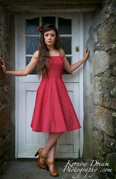 Handmade Halter Red Spot Dress with Circular Skirt - Silly Old Sea Dog