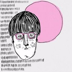 Korean Bowl-cut Hand drawn and digitally illustrated by www.uncouthkat.com   #portrait #illustration #simple #contemporary