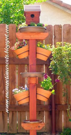 Bird house/bath/Feeder - One More Time Events..and plant stand! This is fantastic and there's a how-to!