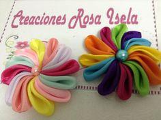 Como hacer una flor de listón multicolor VIDEO No. 119