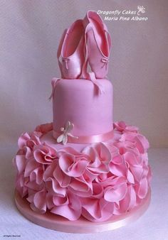 ballerina birthday cake for your sweet little girl. Ballet Cakes, Ballerina Cakes, Ballerina Party, Ballerina Pink, Vintage Ballerina, Ballerina Slippers, Cute Cakes, Pretty Cakes, Gorgeous Cakes