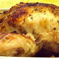"""Olive Oil Pressure-Cooked Whole Roasted Chicken   """"Pressure-cooked whole chicken using plenty of olive oil is placed under the broiler for a few minutes to produce a crispy skin and a very flavorful chicken."""""""