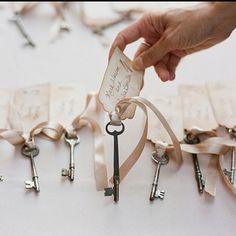 Vintage key escort cards