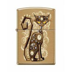 Zippo Lighter: Steampunk Cat - Brushed Brass