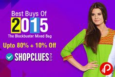Shopclues Best Buys of 2015 offers UPTO 80% + 10% off on Products. The Blockbuster Mixed Bag. Shopclues Coupon Code – EXTRA10  http://www.paisebachaoindia.com/get-upto-80-10-off-on-products-best-buys-of-2015-shopclues/